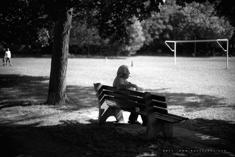 Man on bench.