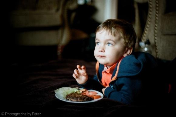 Boy with Man Platter, on Velvet