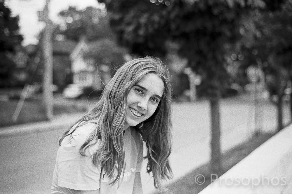 The sitting on the wall portrait - Prosophos - Leica M3 - Voigtlander 40mm Nokton 1.4 - Kodak Tri-X 400